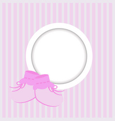 greeting card with frame and baby shoes for a girl vector image