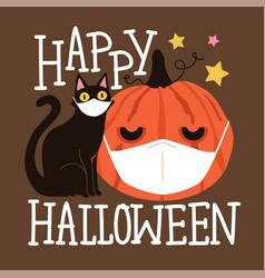 Halloween 2020 coronavirus greeting card vector