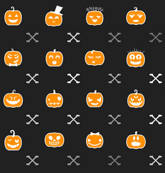 halloween background with pumpkins seamless vector image
