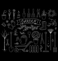 Hand drawn chalk garden tools set vector