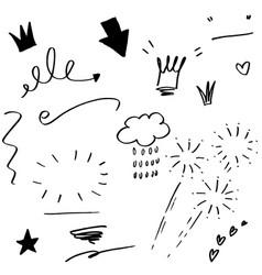 Hand drawn set elements black on white vector