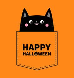 happy halloween cute black cat in pocket pink vector image