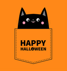 Happy halloween cute black cat in the pocket pink vector