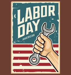 happy labor day america wrench in hand vector image