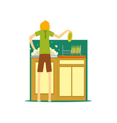 Henpecked man husband washing the dishes in the vector