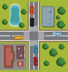 Highways top view cartoon vector