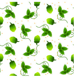 Hop plant green seamless pattern vector