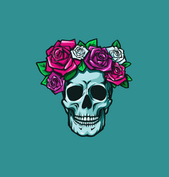 Human skull with colorful roses vector