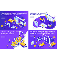 isometric set article for education vector image