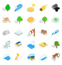 Land icons set isometric style vector