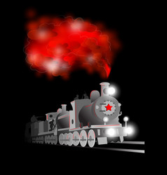 Locomotive with soldier and red star vector