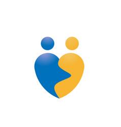 love couple shape logo vector image