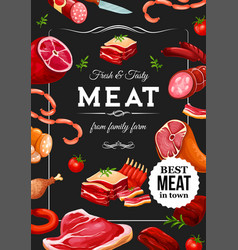 meat sausages beef and pork farmer butcher shop vector image