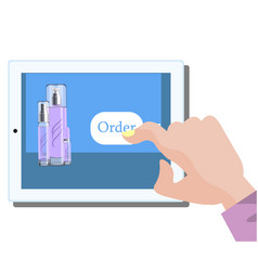mobile online shopping of woman cosmetics vector image