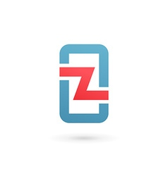 Mobile phone app letter Z logo icon design vector image