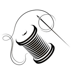 Needle and spool thread symbol for tailor vector