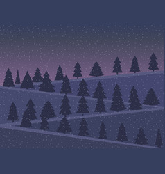 Night landscape with snow-covered christmas trees vector