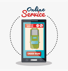 online service green car transport vector image