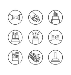 Optical fiber flat line icons network vector
