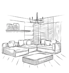 Outline sketch of a interior vector image