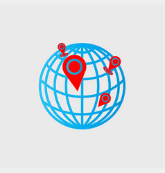 Pin icon on map with a white background vector