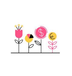planting seed dollar euro vector image