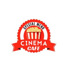 Pop corn box icon for cinema cafe menu vector