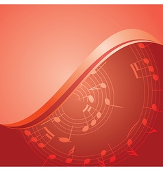 Red background - curved music notes vector