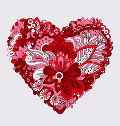 Red floral heart doodle decorative element vector