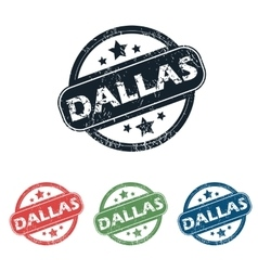 Round Dallas city stamp set vector image