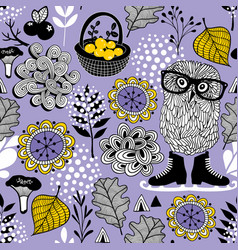 seamless pattern of forest life vector image vector image