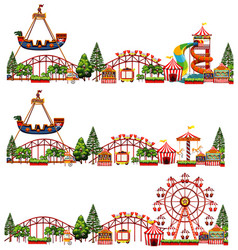 set different rides in circus on white vector image