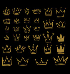 set hand drawn crown icons on dark background vector image