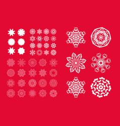 Set of christmas white snowflakes vector
