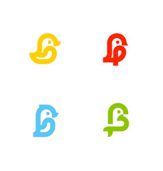 Set of icons or logo templates with little birds vector