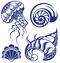 Set of jellyfish and various sea shells vector image