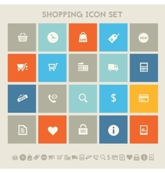 Shopping icon set multicolored square flat vector