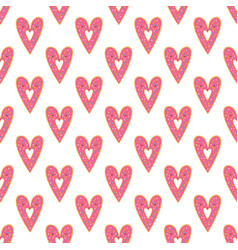 simple donuts heart seamless pattern vector image