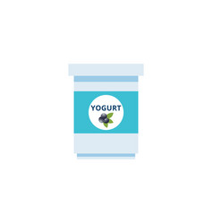 simple flat yogurt cup icon with blueberry label vector image