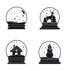 snow globe ball christmas icons set simple style vector image