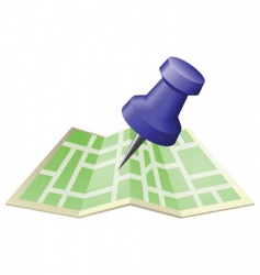 Street map with drawing pin vector