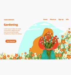 summer garden flowers and green plants for sale vector image