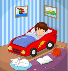 The boy was asleep in the car bed vector