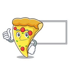 Thumbs up with board pizza slice character cartoon vector