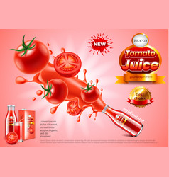 tomato juice ads glass bottle explosion vector image