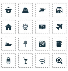 tourism icons set with electric train cafe tv vector image