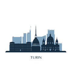 Turin skyline monochrome silhouette vector