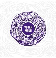 Vegan menu design Violet cabbage vector image