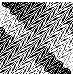 Wavy undulating lines geometric monochrome vector