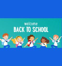 welcome back to school concept schoolboys vector image